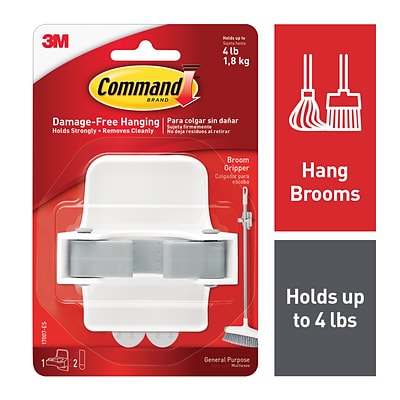 Command™ Large Broom & Mop Gripper, White/Gray, Each (17007-ES)