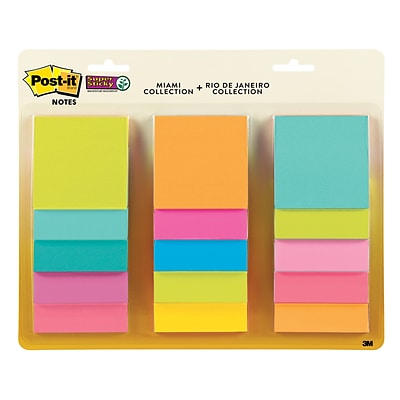 Post-it® Super Sticky Notes, 3 x 3, Miami Collection, 15 Pads/Pack (654-15SSMULTI2)