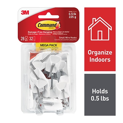 Command™ Small Wire Hooks Mega Pack, White, 28 Hooks (17067-MPES)