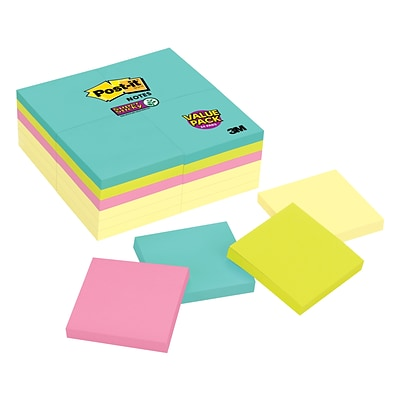 Post-it® Super Sticky Notes, 3 x 3, Miami Collection, 24 Pads/Pack (654-24SSCYM)