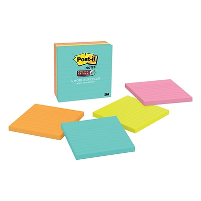 Post-it® Super Sticky Notes, 4 x 4, Miami Collection, Lined, 4 Pads/Pack (675-4SSMIA)
