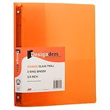 JAM Paper® Plastic 0.75 Inch Binder, Orange 3 Ring Binder, Sold Individually (53016OR)