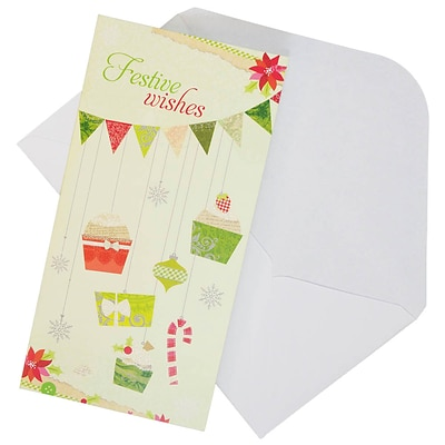 JAM Paper® Christmas Money Cards Set, Festive Wishes, set of 6 (95227799)