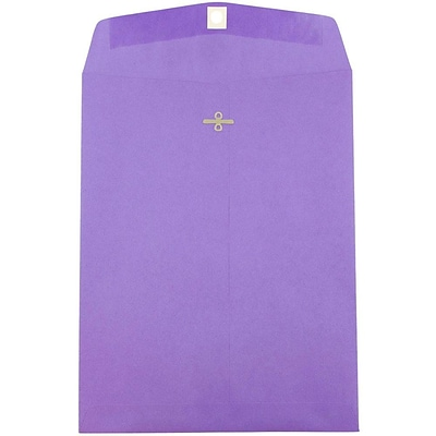 JAM Paper® 10 x 13 Open End Catalog Envelopes with Clasp Closure, Brite Hue Violet Purple Recycled, 10/pack (V0128182B)