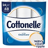 Cottonelle Ultra CleanCare Toilet Paper, Strong Bath Tissue, 24 Double Rolls (47766)