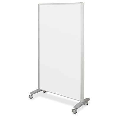 Best-Rite Lumina Mobile Whiteboard Room Divider Easel, Silver, 72H x 39 1/2W x 20D (74861)