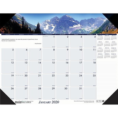 House of Doolittle 2019 Monthly Desk Pad Calendar Earthscapes Mountains of the World 22 x 17  (HOD176)