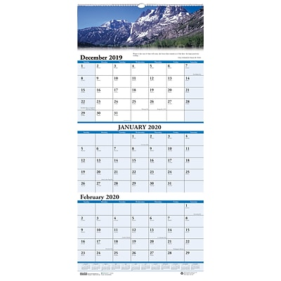 House of Doolittle 2019 Three-Month Earthscapes Scenic Vertical Wall Calendar 8 x 17  (HOD3636)