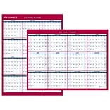 AT-A-GLANCE® 2-Sided Compact Vertical/Horizontal Erasable Yearly Wall Calendar, 12 x 15 11/16 (PM3