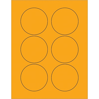 Tape Logic® Fluorescent Circle Laser Labels, 3, Fluorescent Orange, 600/Case (LL195OR)