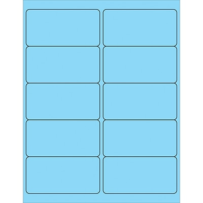 Tape Logic® Removable Rectangle Laser Labels, 4 x 2, Pastel Blue, 1000/Case (LL410BE)