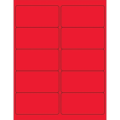 Tape Logic® Removable Rectangle Laser Labels, 4 x 2, Fluorescent Red, 1000/Case (LL410RD)