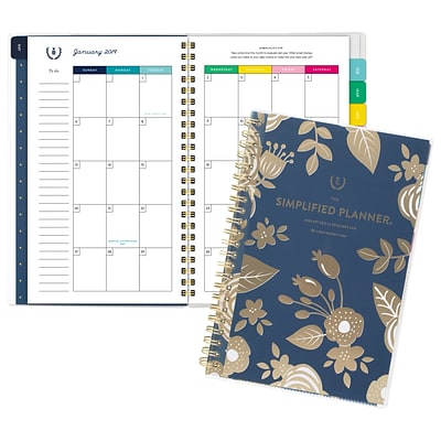 2019 Emily Ley Customizable Monthly Planner, 12 Months, January Start, 4 7/8 x 8, Gold Floral (EL100-202-19)