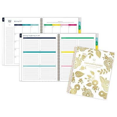 Emily Ley Customizable Weekly/Monthly Planner, 12 Months, January Start, 8 3/8 x 11, Gold Floral (EL100-901-19)