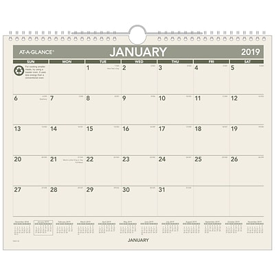 2019 AT-A-GLANCE® Recycled Monthly Wall Calendar, 12 Months, January Start, 15 x 12 (PMG77-28-19)
