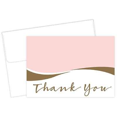 Masterpiece Studios Great Papers!® Pink Caress with Gold Metallic Foil Thank You Note Card, 4.875H x 3.35W, 50 count (2017056)