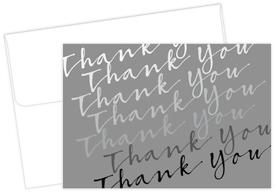 "Masterpiece Studios Great Papers!® Cursive with Metallic Silver Thank You Note Card, 4.875""H x 3.35""W, 50 count (2017053)"