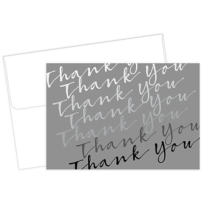 Masterpiece Studios Great Papers!® Cursive with Metallic Silver  Thank You Note Card, 4.875H x 3.35W, 50 count (2017053)