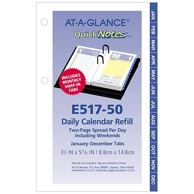 2019 AT-A-GLANCE® QuickNotes® Daily Loose-Leaf Desk Calendar Refill, 12 Months, January Start, 3 1/2 x 6 (E517-50-19)