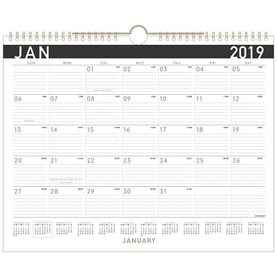 2019 AT-A-GLANCE® Contemporary Monthly Wall Calendar, 12 Months, January Start, 14 7/8 x 11 7/8, Wirebound (PM8X-28-19)