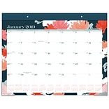 2019 AT-A-GLANCE® Badge Floral Monthly Desk Pad Calendar, 12 Months, January Start, 21 3/4 x 17 (D