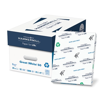 Hammermill Great White Recycled Copy Paper, 8-1/2 x 11, 92 Bright, 20 LB, 10 Reams of 500 Sheets