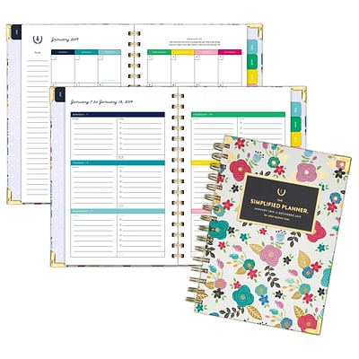 2019 Emily Ley Weekly/Monthly Planner, Hardcover, Wirebound, 12 Months, January Start, 5 3/8 x 8 1/2, Floral (EL102-200-19)