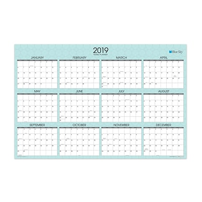 2019 Blue Sky Laminated Calendar BS Picadilly 36 H x 24  W RY Horizontal/Vertical (100031-19)