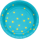 Creative Converting Foil Paper Dessert Plates, Bermuda Blue and Gold, 24/Pack (DTC329944PLTAB)