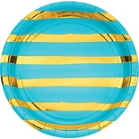 Creative Converting Foil Striped Paper Dinner Plates, Bermuda Blue and Gold, 24/Pack (DTC329945DPLTA