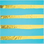Creative Converting Foil Lunch Napkins, Bermuda Blue and Gold, 48/Pack (DTC329943BNAP)
