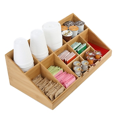 Mind Reader 11 Compartment Coffee Condiment Organizer, Brown Bamboo (COMORGBM-BRN)