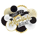 Amscan Graduation The Adventure Begins Deluxe Fan Decorating Kit, White, Gold, Black, Hot Stamped Pa