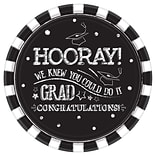 Amscan Hooray Grad Round Paper Plates, 10.5 Diameter, 18 Plates/Pack, 3/Pack (721754)