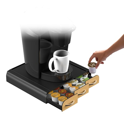 Incroyable Mind Reader Anchor Wood Veneer Coffee Pod Storage Drawer For 36 K Cup, Black