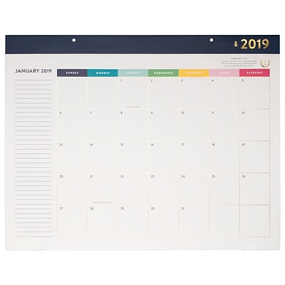 2019 Emily Ley Monthly Desk Pad Calendar, 12 Months, January Start, 21 3/4 x 17 (EL100-704-19)
