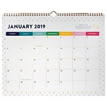 2019 Emily Ley Monthly Wall Calendar, 12 Months, January Start, Wirebound, 14 7/8 x 11 7/8, Happy