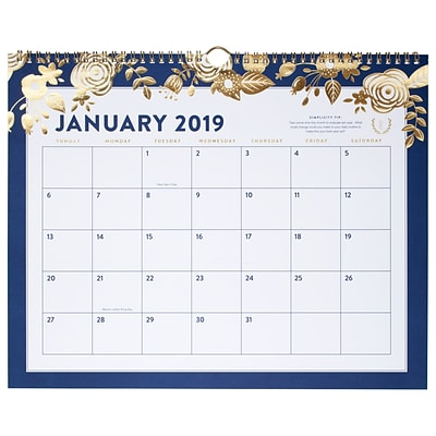 2019 Emily Ley Monthly Wall Calendar, 12 Months, January Start, Wirebound, 14 7/8 x 11 7/8, Navy, Gold Floral (EL101-707-19)