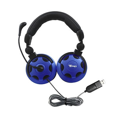 HamiltonBuhl Headphone with Noise-Cancelling Mic, Blue (TP1-USB)