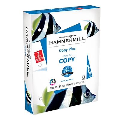 Hammermill Copy Plus 3 Hole Punch Copy Paper, 8-1/2 x 11, 92 Bright, 20 LB, 500 Sheets