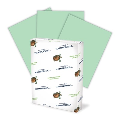 Hammermill® Fore MP Color Paper, 8 1/2 x 11, LETTER-Size, 3-Hole Drilled, 20 lb., Green (102947)