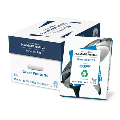 HammerMill Great White Copy Paper, 8 1/2 x 11, Case