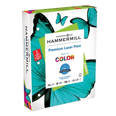 Hammermill 3 Hole Punch Laser Copy Paper, 8-1/2 x 11, 96 Bright, 24 LB, 500 Sheets (10768-1)