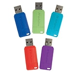 Verbatim PinStripe 32GB USB 2.0 Flash Drives, Assorted Colors, 5/Pack (70055)