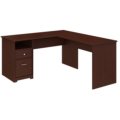 Bush Furniture Cabot 60W L Shaped Computer Desk with Drawers, Harvest Cherry (CAB044HVC)