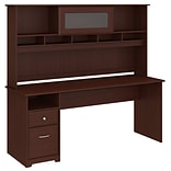 Bush Furniture Cabot 72W Computer Desk with Hutch and Drawers, Harvest Cherry (CAB049HVC)