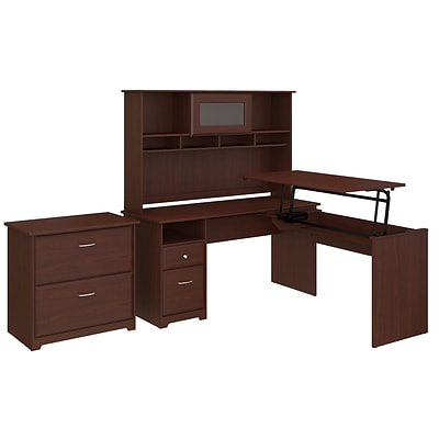 Bush Furniture Cabot 60W 3 Position L Shaped Sit to Stand Desk with Hutch and File Cabinet, Harvest Cherry (CAB047HVC)