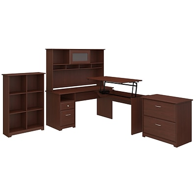 Bush Furniture Cabot 60W 3 Position L Shaped Sit to Stand Desk with Hutch and Storage, Harvest Cherry (CAB048HVC)