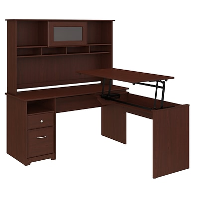 Bush Furniture Cabot 60W 3 Position L Shaped Sit to Stand Desk with Hutch, Harvest Cherry (CAB045HVC)