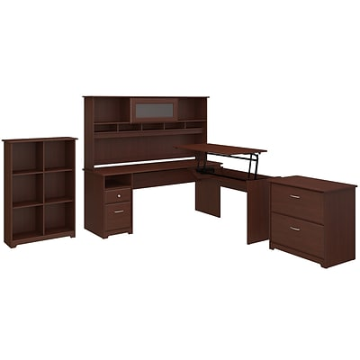 Bush Furniture Cabot 72W 3 Position L Shaped Sit to Stand Desk with Hutch and Storage, Harvest Cherry (CAB055HVC)